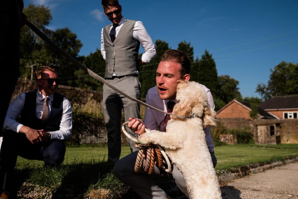 Summer Documentary Wedding Photography at Consall Hall Gardens Outdoor Ceremony Cockapoo dog - Jenny Harper-57.jpg