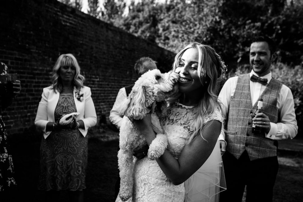 Summer Documentary Wedding Photography at Consall Hall Gardens Outdoor Ceremony Cockapoo dog - Jenny Harper-58.jpg