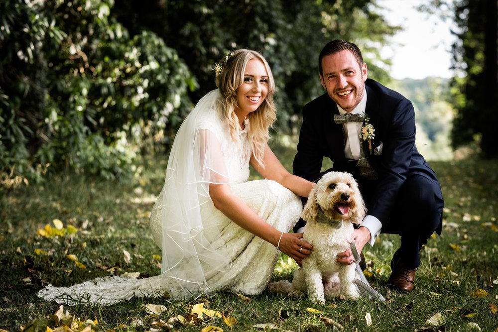 Summer Documentary Wedding Photography at Consall Hall Gardens Outdoor Ceremony Cockapoo dog - Jenny Harper-60.jpg