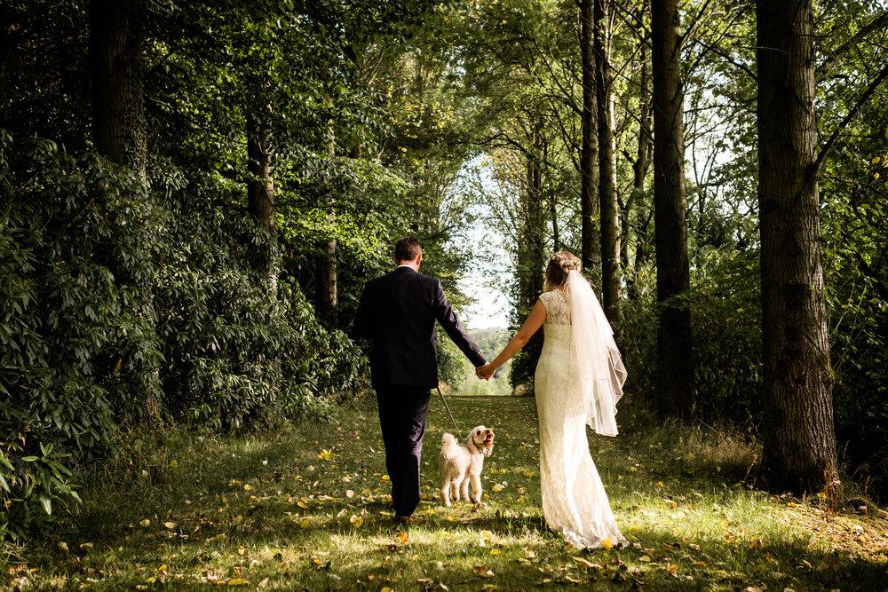 Summer Documentary Wedding Photography at Consall Hall Gardens Outdoor Ceremony Cockapoo dog - Jenny Harper-59.jpg