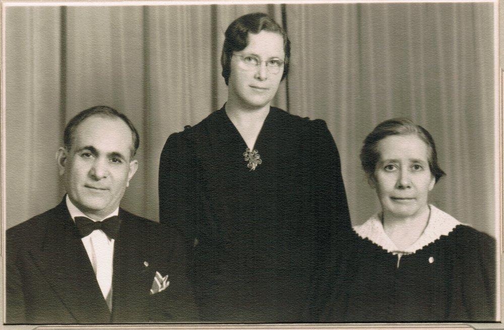 1935 Pastor David, Elvera Strand (later David, Ruth David.jpeg