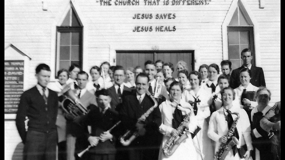 Church orchestra.