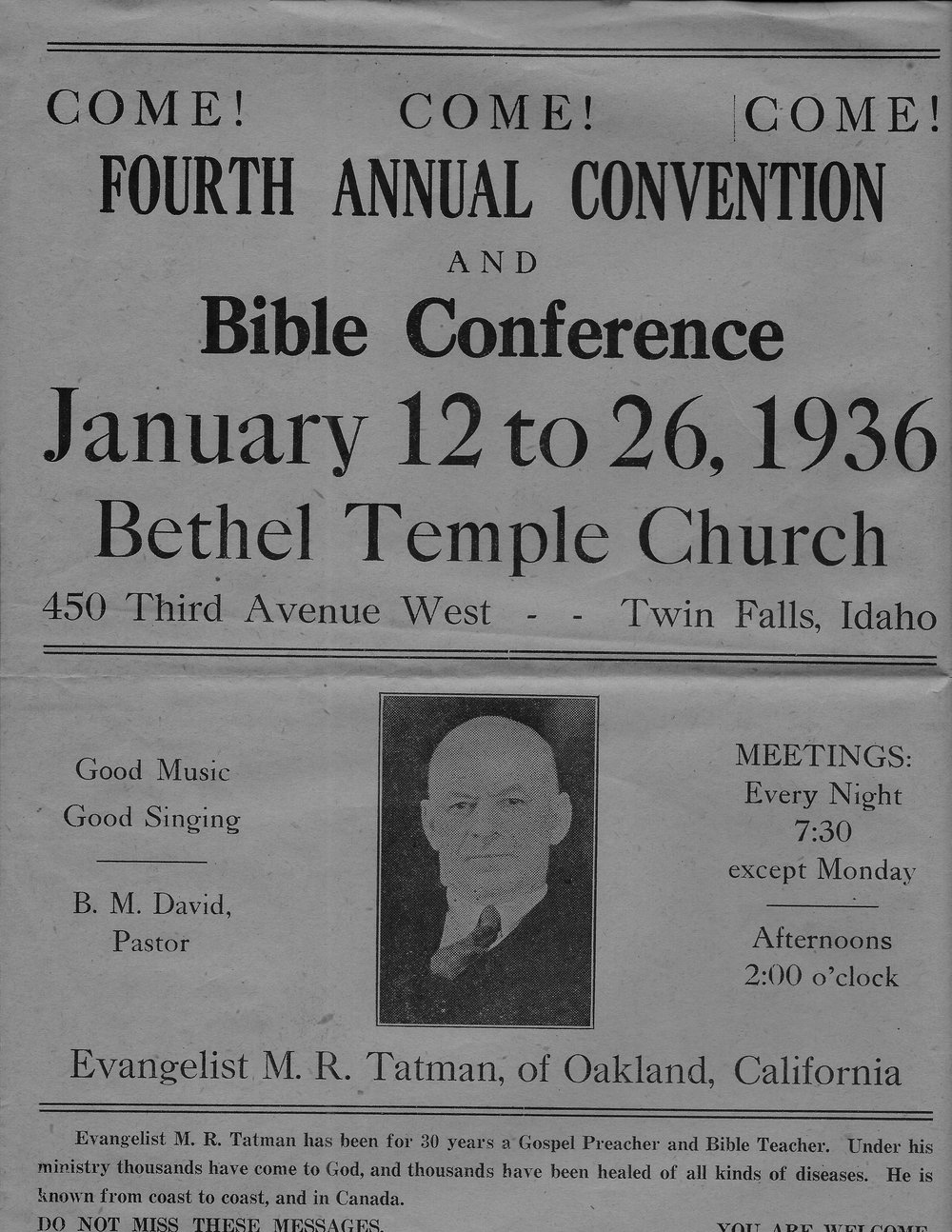 Bethel Temple Church - 4th Annual Convention & Bible Conference