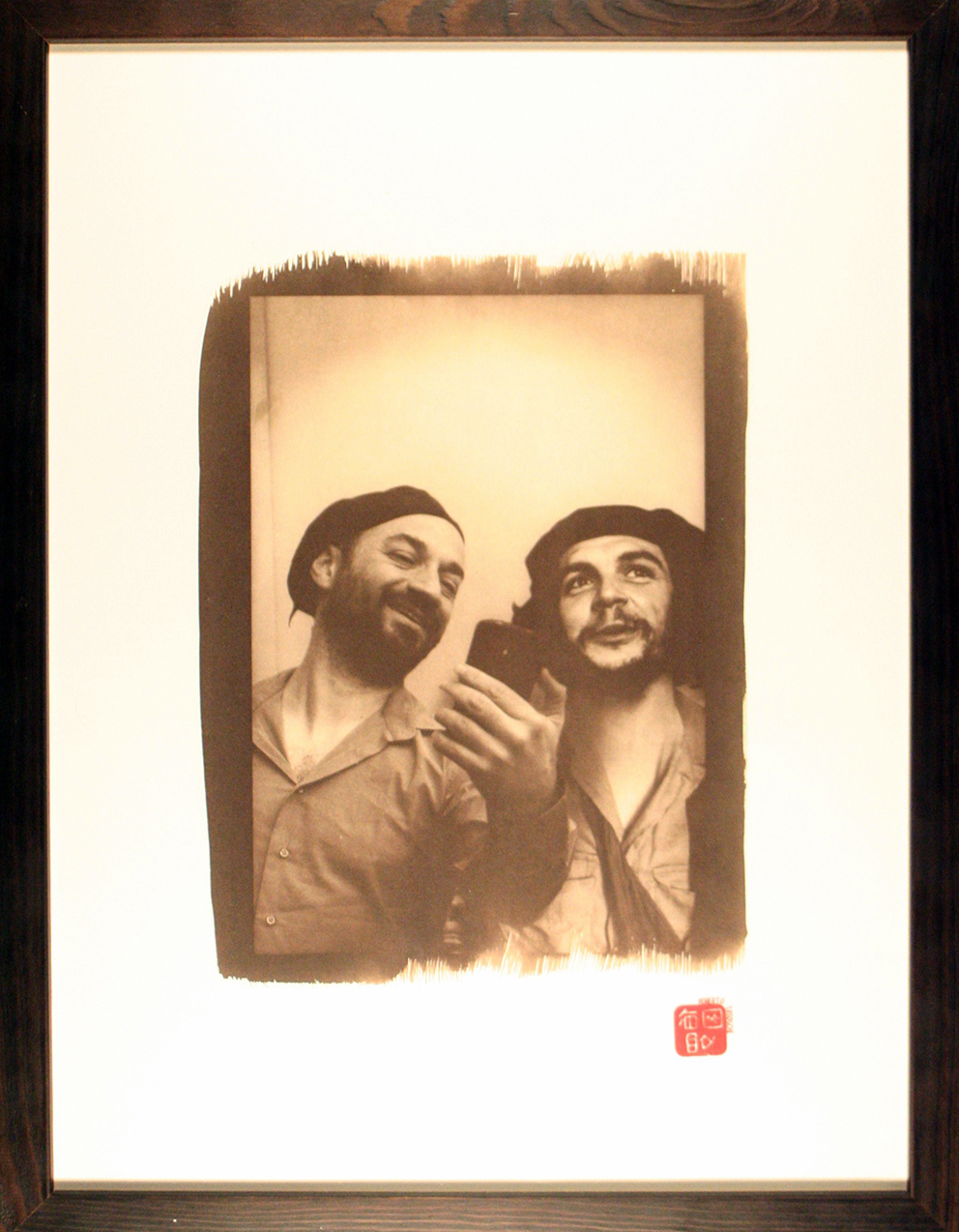 - MOI ET ...  C. G.Original 18x24cm photo-montage with Van Dyck process print, in 33x43cm glass protected wooden frame.Ed. of 25300 €