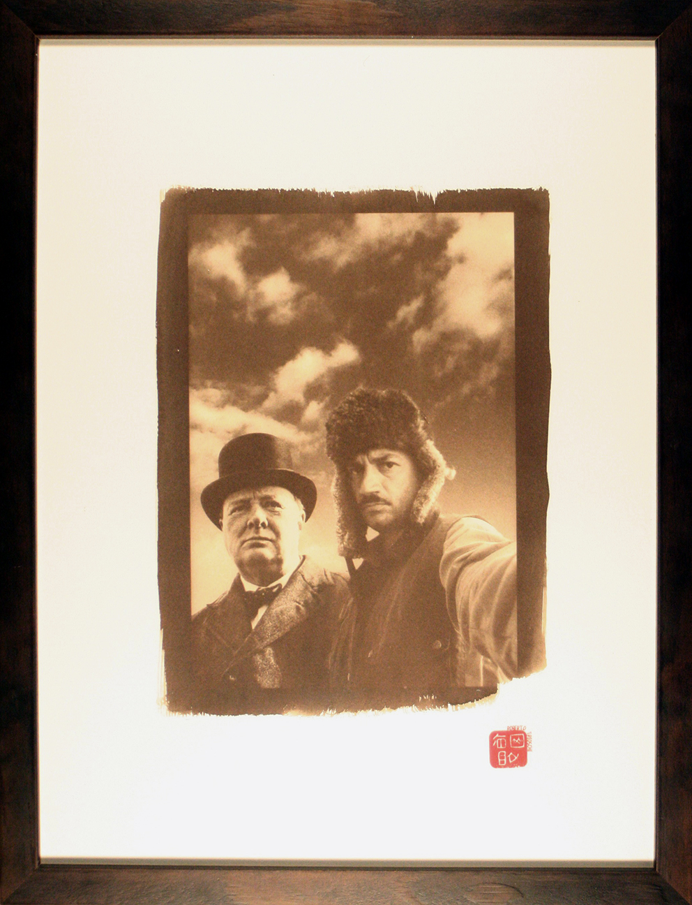 - MOI ET ...  W. C.Original 18x24cm photo-montage with Van Dyck process print, in 33x43cm glass protected wooden frame.300 €
