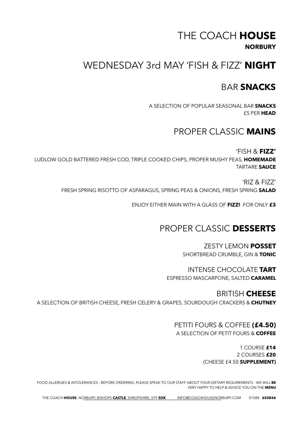 fish and fizz menu