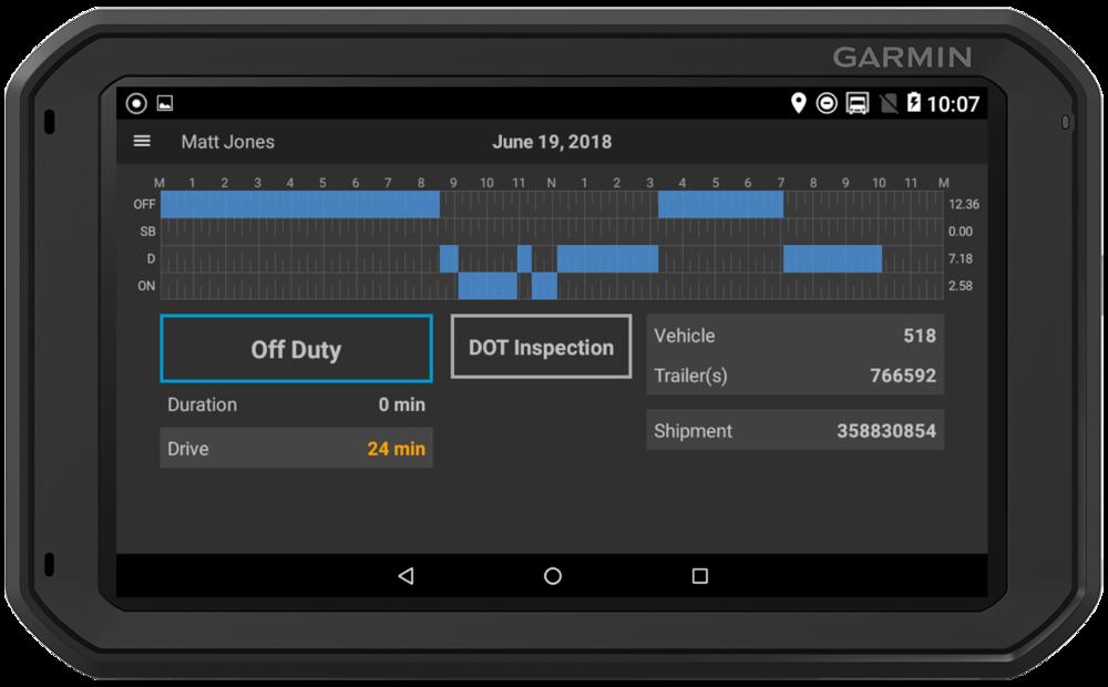 Garmin Fleet 790 tablet for CarmaLink FMCSA registered ELD solution including IFTA mileage and DVIR reports