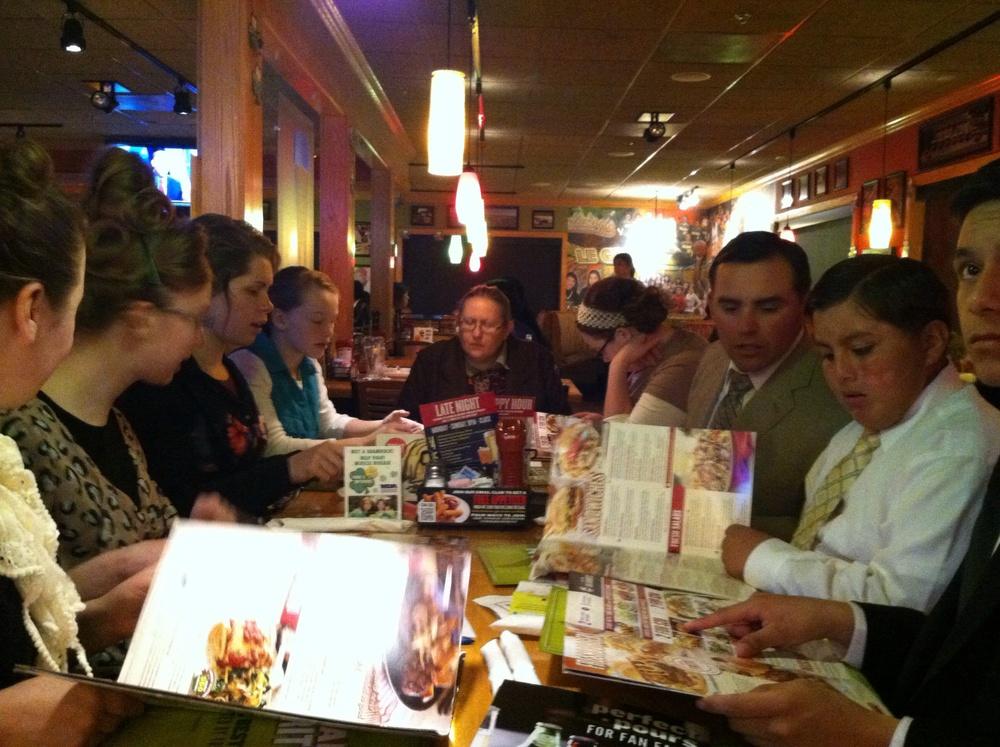 Wednesday Night dinner at Applebee's!