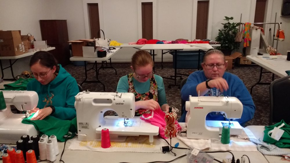 Sis. Jen Womack; Sis. Sarah Davis and Sis. Debbie Ann Engle - our seamstresses.