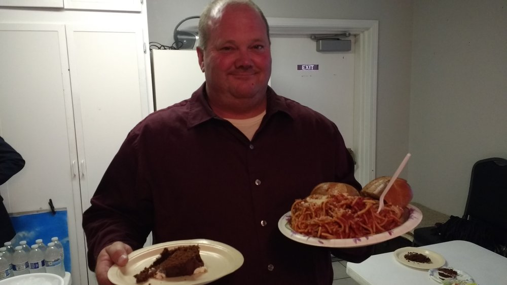 Bro. David filling his plate up. You go David!