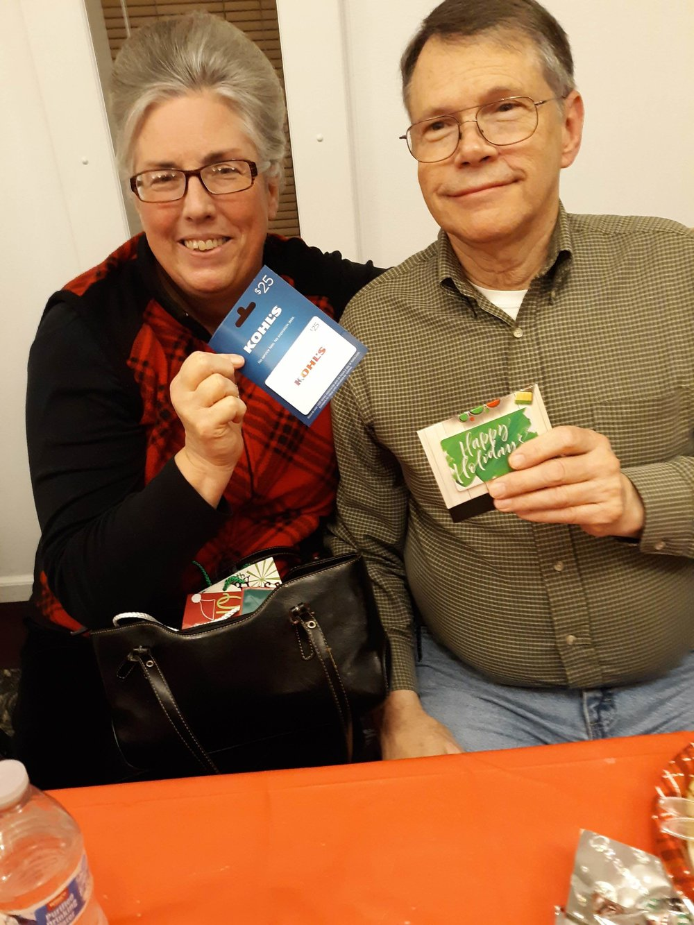 Sis. Sandy scored a Kohl's gift card and Bro. Steve's was a Home Depot gift card