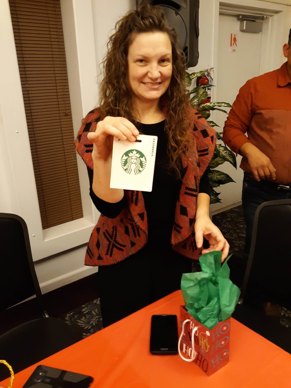 Sis. Jacquie received a Starbucks gift card. Woo Hoo!