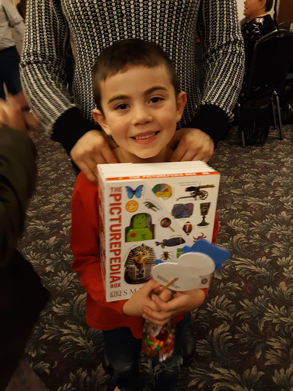 Jared received books that he can use for school.