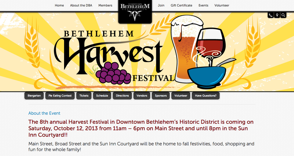 Downtown Bethlehem Association Web Banner for Harvest Festival