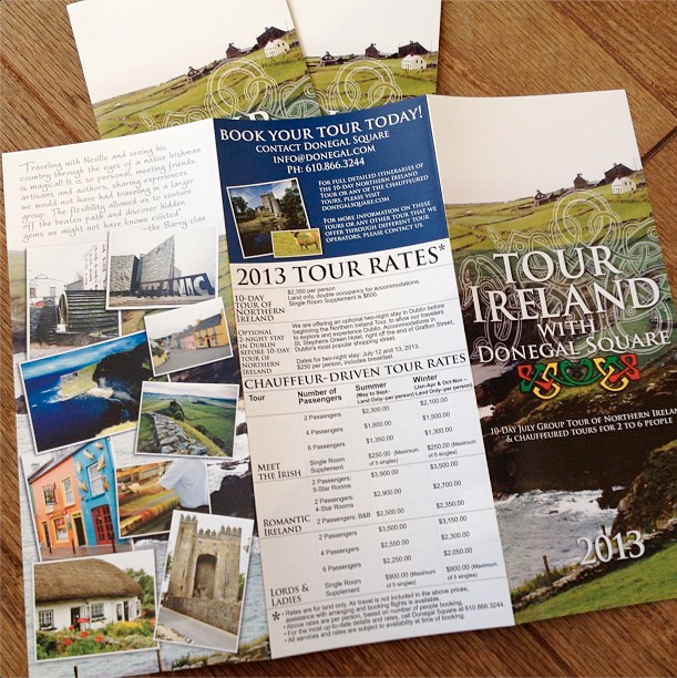 Back_Tri-fold brochure for Tour Ireland with Donegal Square