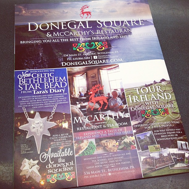 "Full page (8.5x11"") ad for Donegal Square, with Tour Ireland with Donegal Square panel. Ad appeared in InQ Magazine, put out by ArtsQuest in Bethlehem, PA"