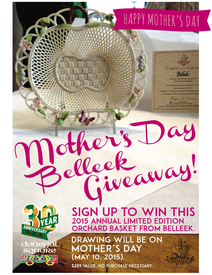 POS Signage for Belleek Mother's Day Giveaway. The giveaway worked to collect email addresses from customers.