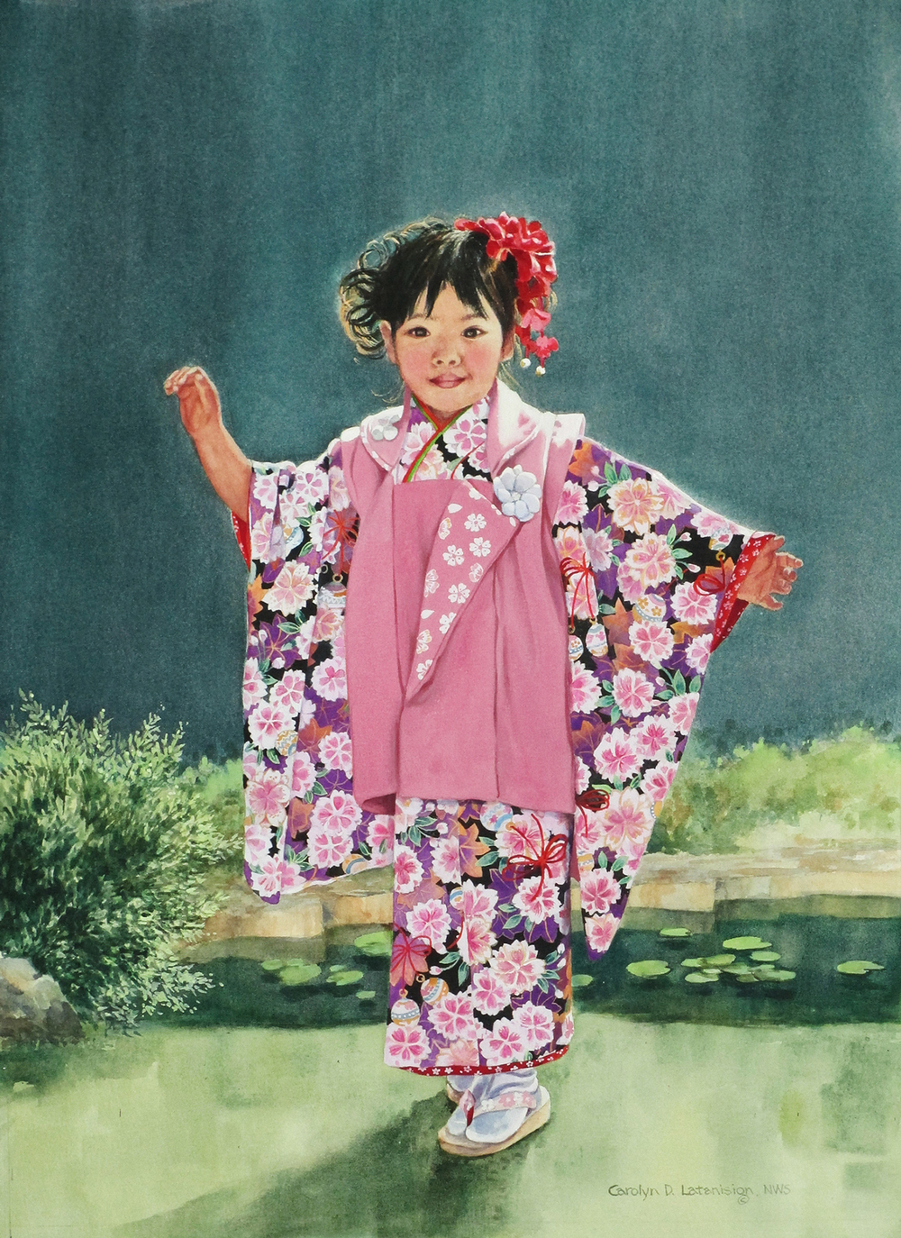"Original watercolor, ""Akiko"", by Carolyn Latanision, used to make blended image for the Art & Embellishment exhibit."