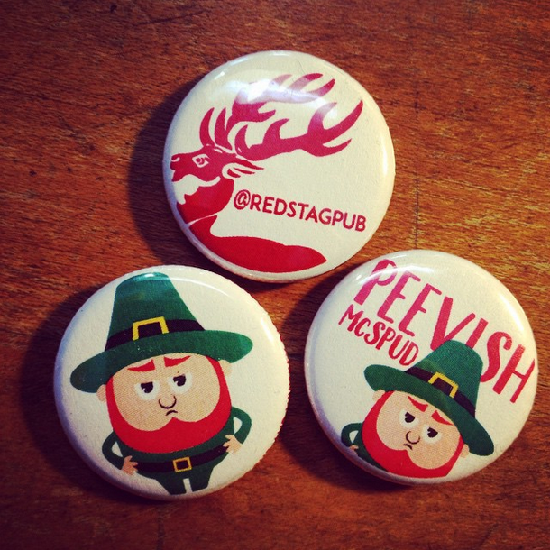 "1"" Buttons for Peevish McSpud and The Red Stag Pub"
