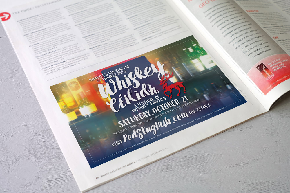WHISKEY CEILIDH • HALF PAGE ADVERTISEMENT  CLIENT: McCARTHY'S RED STAG PUB AND WHISKEY BAR • BETHLEHEM, PA BRIEF: Advertise first Whiskey Ceilidh tasting festival in 2017. WORK: Copy writing and layout through Adobe InDesign.