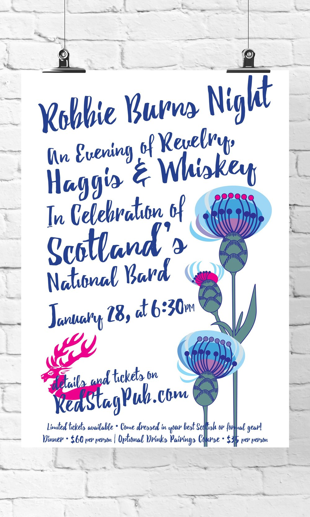 ROBBIE BURNS • 11X17 PROMOTIONAL POSTER FOR 2017  CLIENT: McCARTHY'S RED STAG PUB AND WHISKEY BAR WORK: Adobe Illustrator + InDesign