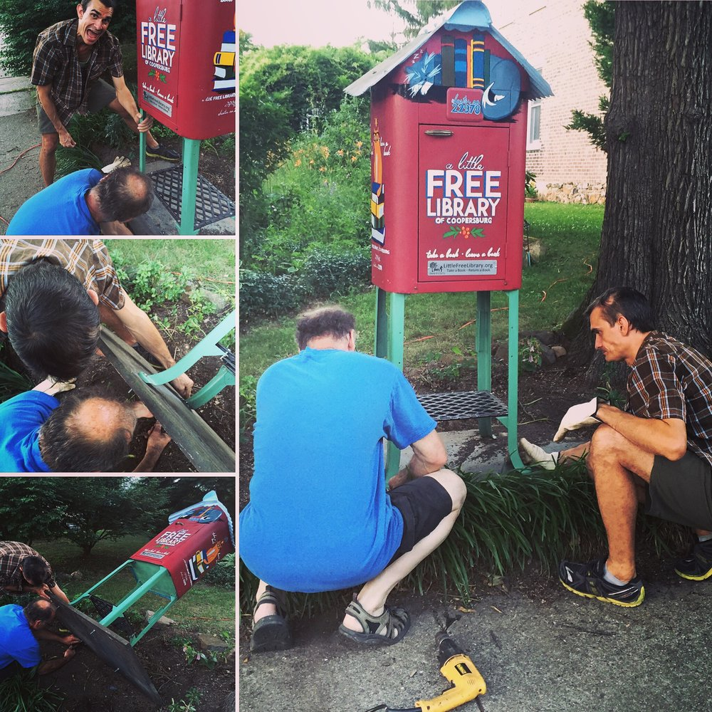 LITTLE FREE LIBRARY OF COOPERSBURG  Installation  day for the Little Library!