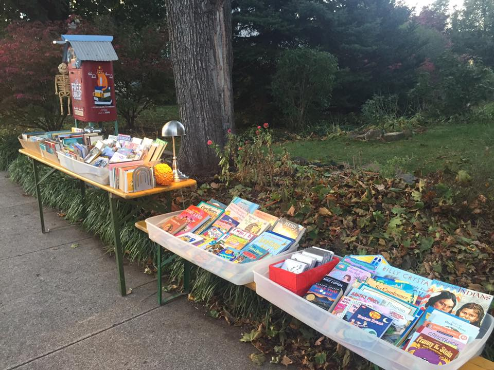 SET UP FOR THE FIRST ANNUAL 'TRICK-OR-TREAT, TAKE-A-BOOK' NIGHT
