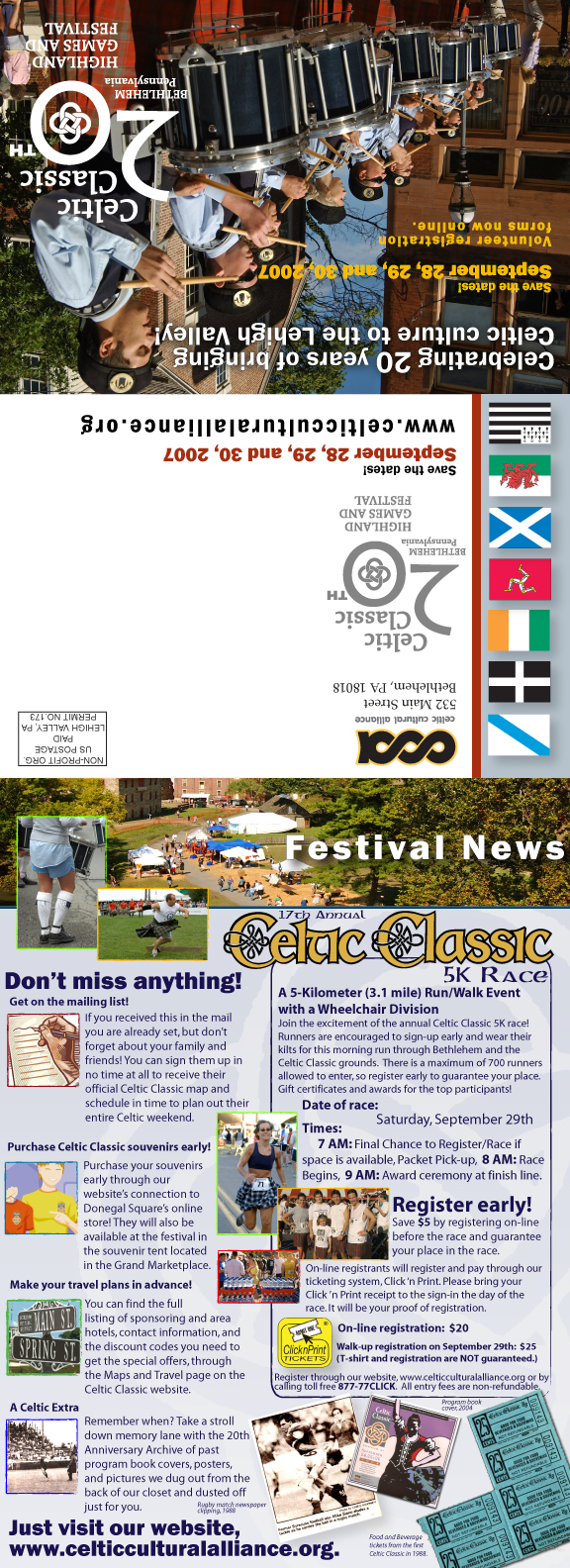 CELTIC  CLASSIC  • 12.5 x 8.8 PROMOTIONAL MAILER   CLIENT: Celtic Cultural Alliance PLACEMENT: Piece was  mailed out to Celtic Classic's 10,000+ mailing list to promote Festival attendance. WORK: Adobe illustrator
