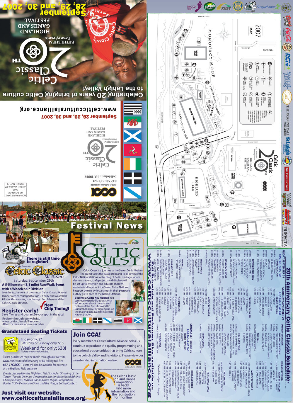 2007 CELTIC CLASSIC MAILER + FESTIVAL HANDOUT  • 12.5 x 17.6  MAILER + POSTER  CLIENT: Celtic Cultural Alliance PLACEMENT: Piece was both mailed out to Celtic Classic's 10,000+ mailing list and handed out to the record amount of  visitors (300,000 +) of the 20th Anniversary Celtic Classic in 2007.