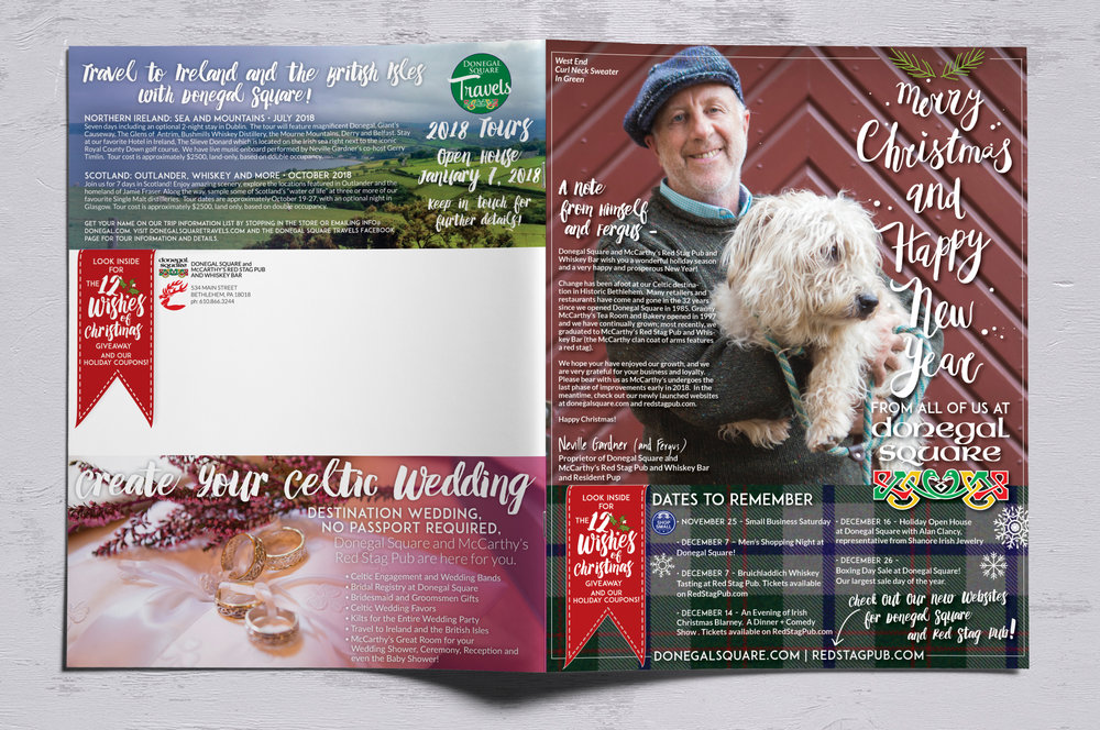 ANNUAL WINTER NEWS MAILER • 11 x 17 TRI-FOLD  CLIENT: DONEGAL SQUARE + MCCARTHY'S RED STAG PUB PLACEMENT: Mailed out to 5,000+ customer list. WORK: Adobe Illustrator + InDesign