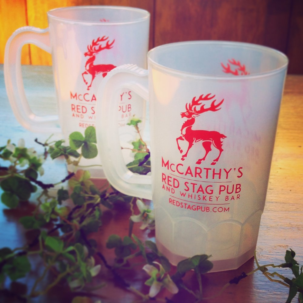 McCARTHY'S RED STAG PUB • SOUVENIR MUGS  Used during Musikfest and Celtic Classic for take away draught beers.
