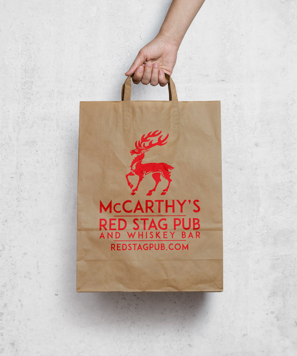 McCARTHY'S RED STAG PUB TAKE AWAY BAG • PRODUCED  CLIENT: McCARTHY'S RED STAG PUB • BETHLEHEM, PA Used on a daily basis for customers to take home freshly baked goods, take away dinners and doggie bags.