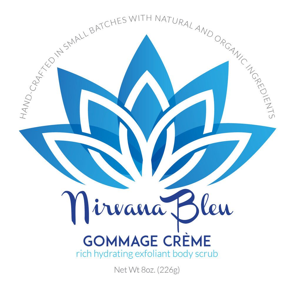 Nirvana Bleu Gommage Créme 2.5 inch round lid label.