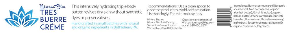 Nirvana Bleu Tres Buerre Créme 8.5x1 inch side label.