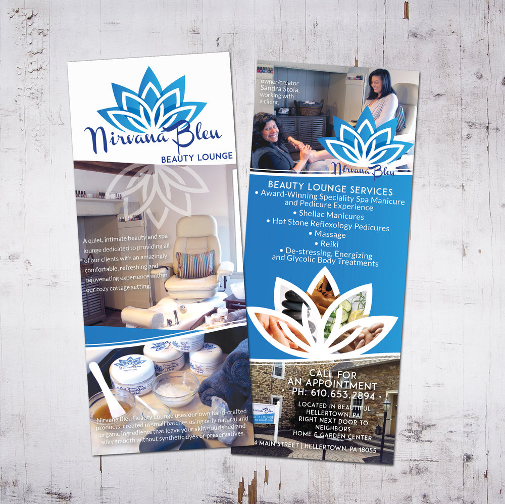 NIRVANA BLEU BEAUTY LOUNGE • 4 x 9 RACK CARD  CLIENT: NIRVANA BLEU • Hellertown, PA WORK: Adobe InDesign + Illustrator.  Logo Design by Kat Moyer Media + Design