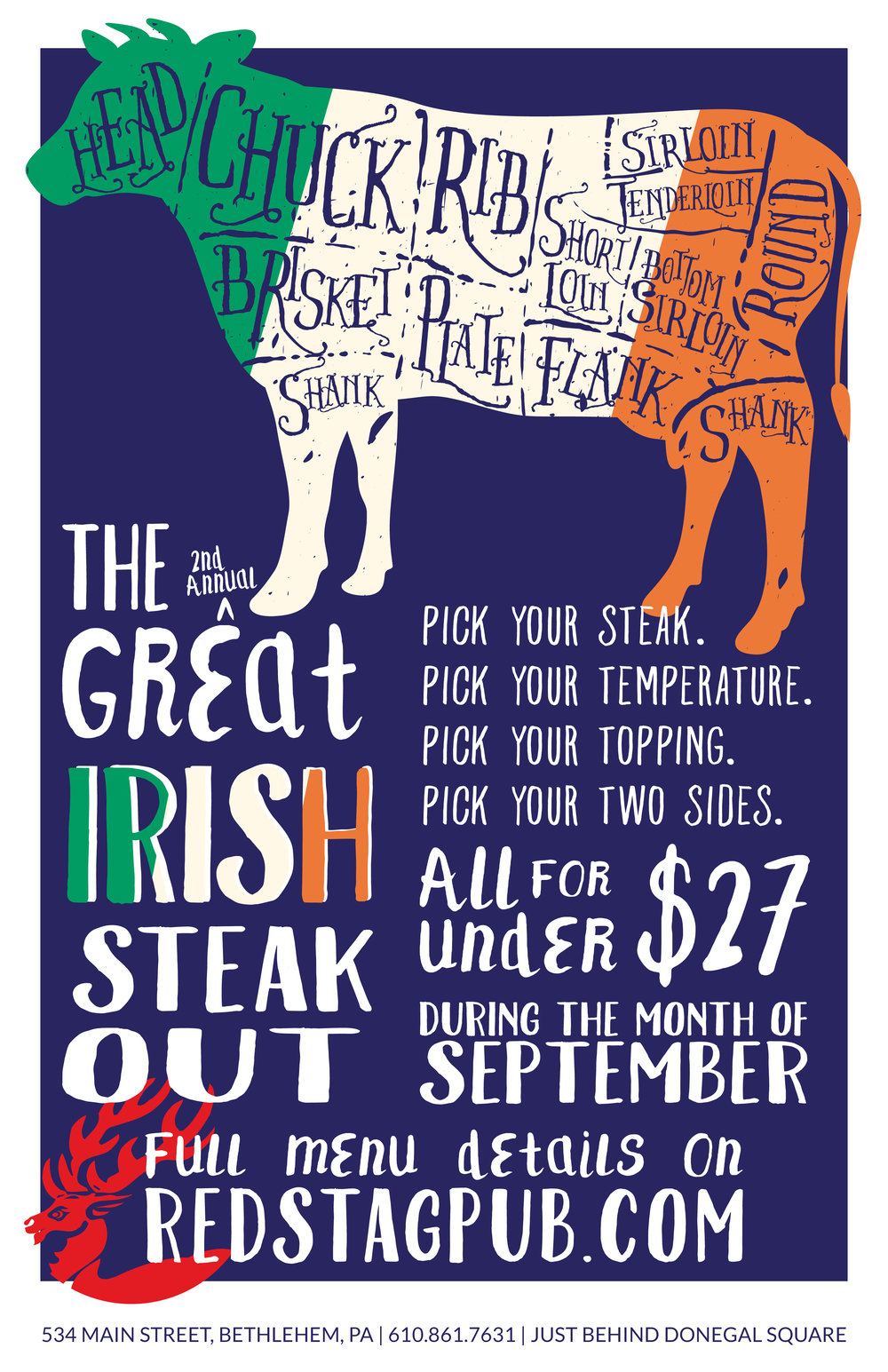 The Great Irish Steak Out • Circle Red Stag Mark