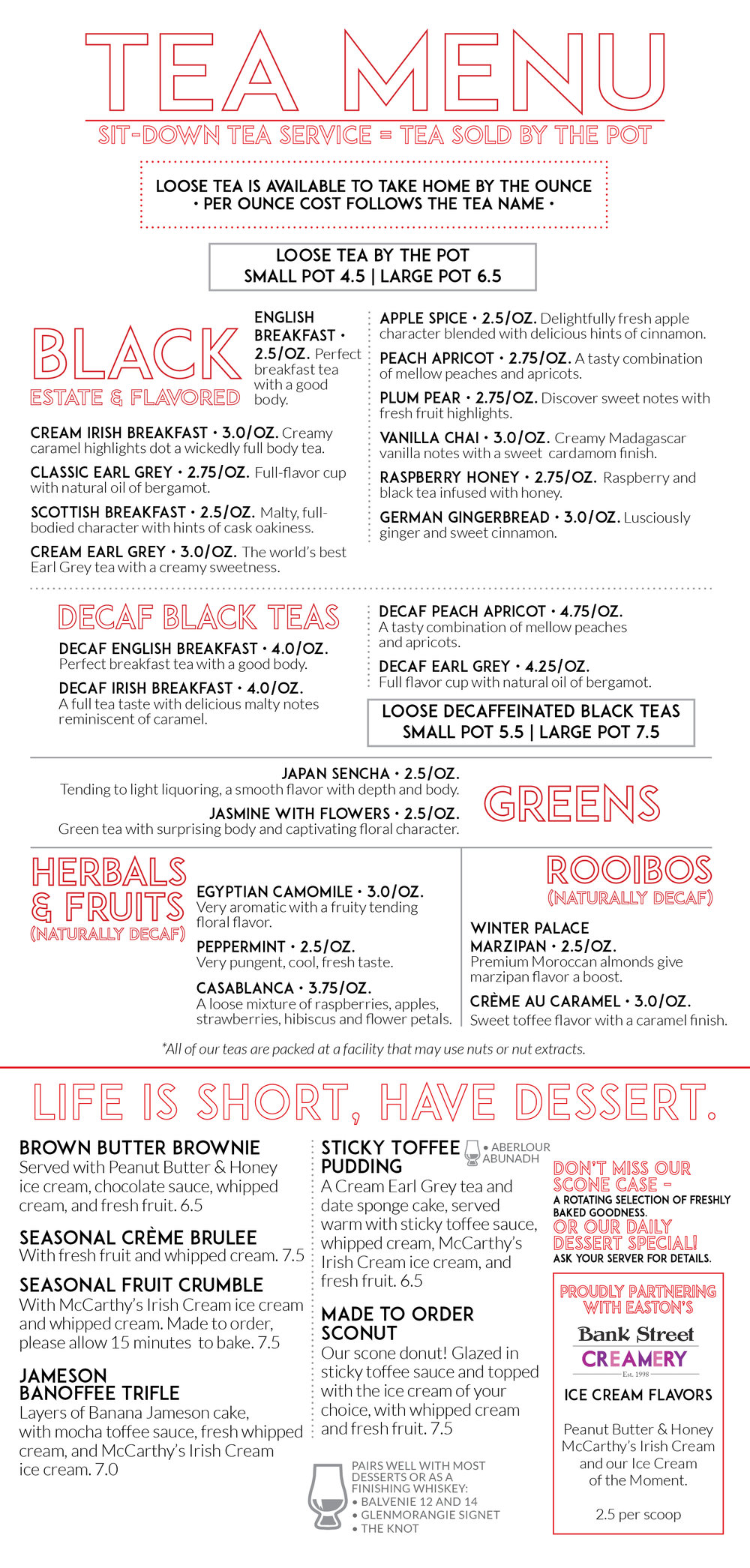 McCARTHY'S  LOOSE TEA + DESSERT  MENU • 5.5 x 12  MENU INSERT  CLIENT: McCARTHY'S RED STAG PUB AND WHISKEY BAR BRIEF: Loose Tea offerings and dessert menu, sized to fit inside the main menu tri-fold. WORK: Adobe InDesign