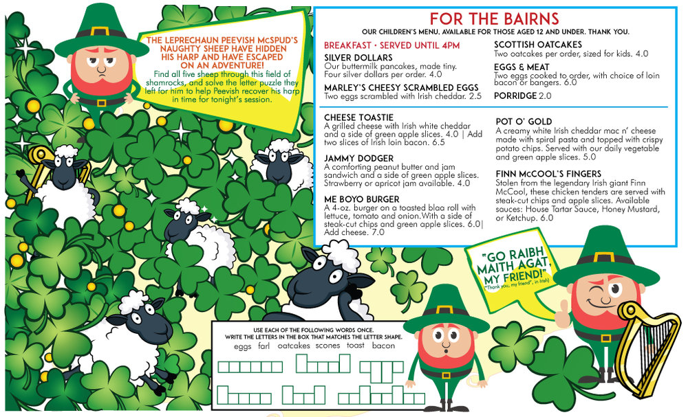 PEEVISH McSPUD + THE WAYWARD SHEEP • 11x14 CHILDREN'S MENU  CLIENT: McCARTHY'S RED STAG PUB AND WHISKEY BAR BRIEF: Create an interactive children's menu introducing the idea of Irish Music Sessions + lost sheep. WORK: Adobe Illustrator