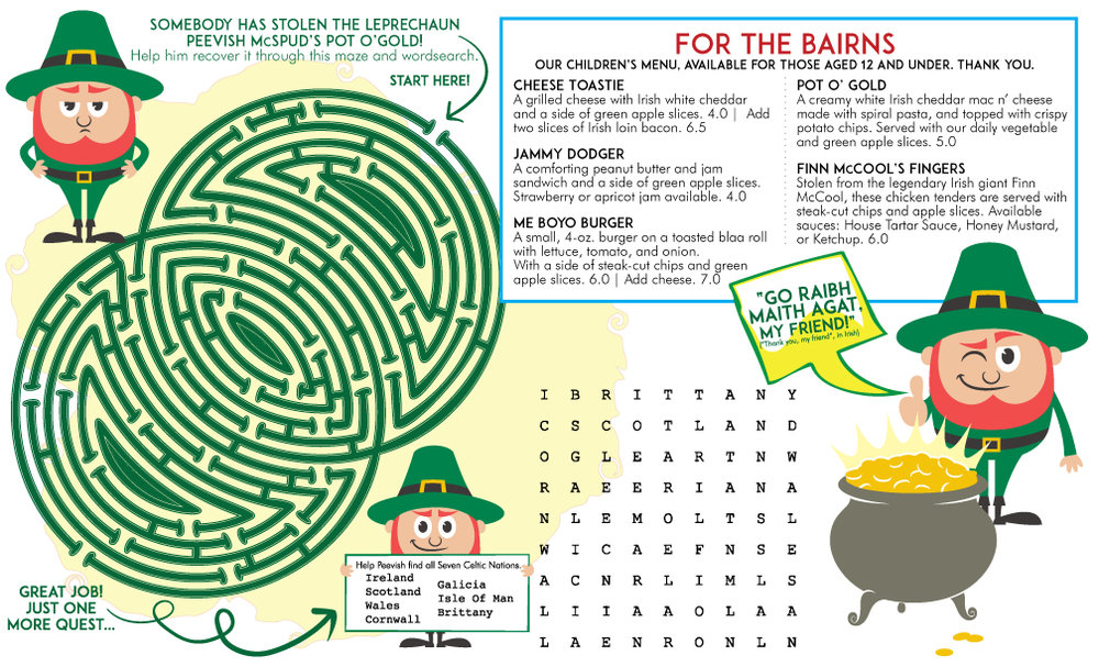 PEEVISH McSPUD + THE POT O' GOLD • 11x14 CHILDREN'S MENU  CLIENT: McCARTHY'S RED STAG PUB AND WHISKEY BAR BRIEF: Create an interactive children's menu based on the Irish legend of finding a lost Pot O'Gold. WORK: Adobe Illustrator