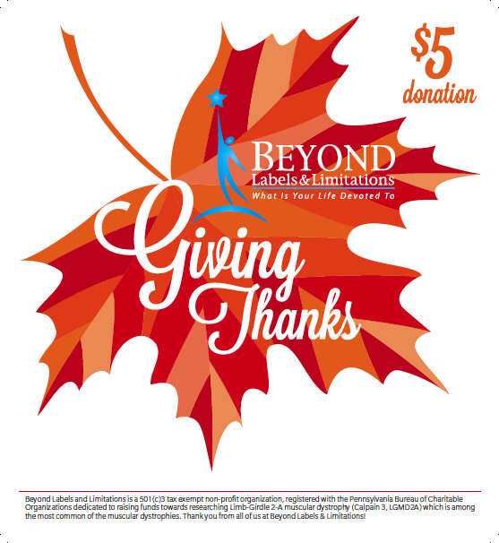 $1 'GIVING THANKS' DONATION LEAF • 5.5x6  CLIENT: BEYOND LABELS & LIMITATIONS WORK: Adobe Illustrator, Adobe InDesign
