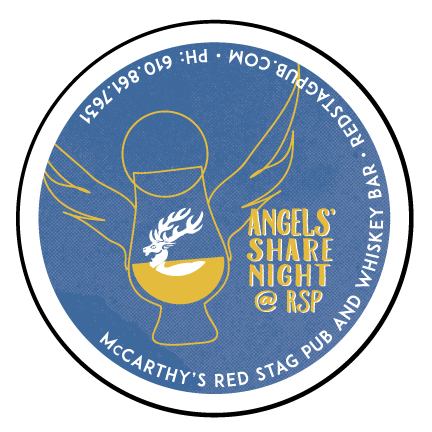 ANGELS' SHARE NIGHTS' • 1 INCH BUTTON  CLIENT: McCARTHY'S RED STAG PUB AND WHISKEY BAR