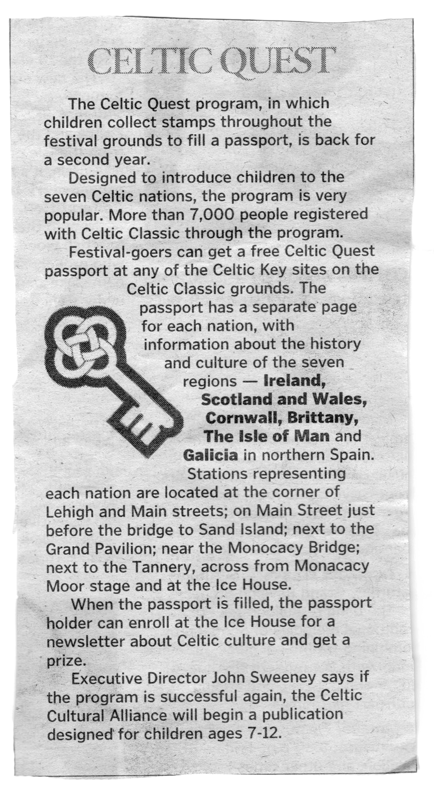 Morning Call  Article about Celtic Quest • September 2006