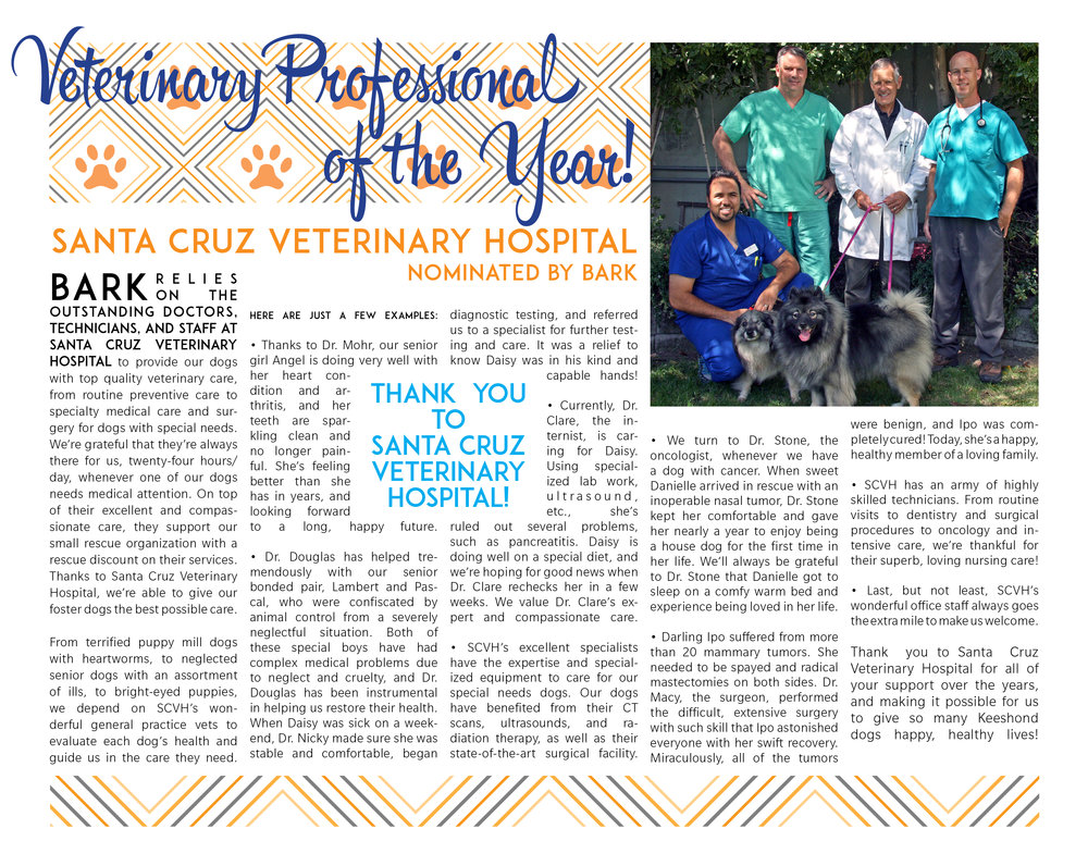 2015 Veterinary Professional of the Year • Santa Cruz Veterinary Hospital