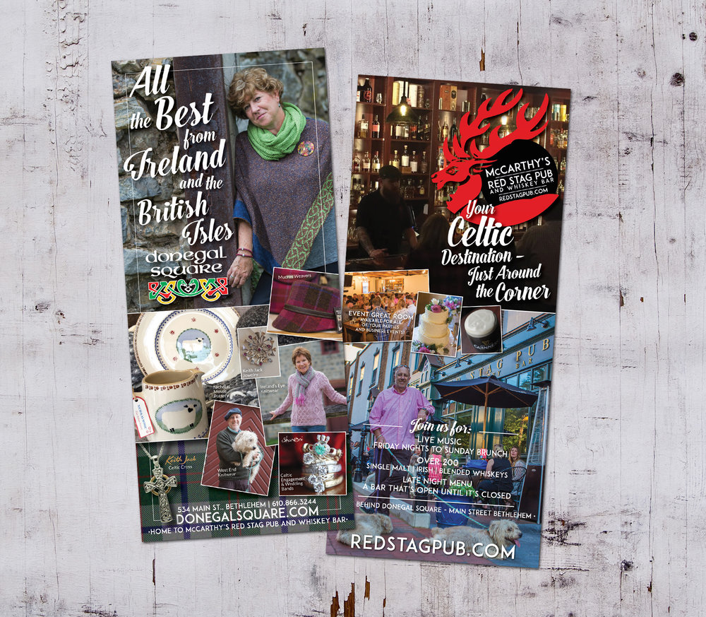 DONEGAL SQUARE + McCARTHY'S RED STAG PUB  • 4 x 9 RACK CARD  CLIENT: DONEGAL SQUARE + McCARTHY'S RED STAG PUB • Bethlehem, PA WORK: Adobe InDesign