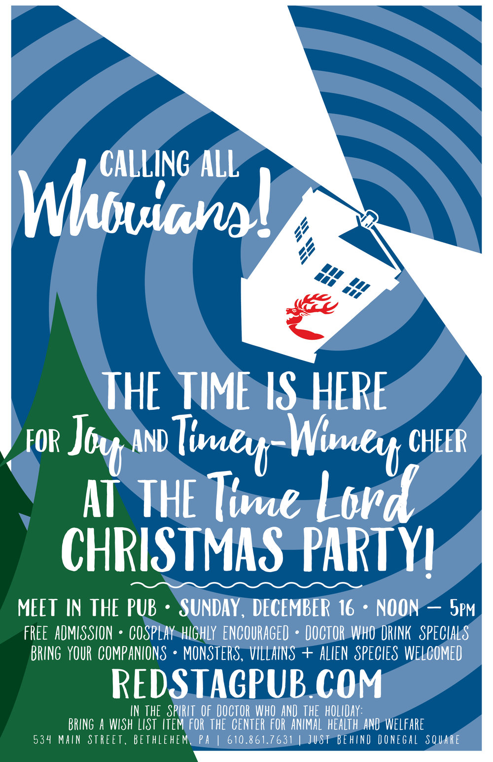 DOCTOR WHO CHRISTMAS PARTY • 11X17 POSTER FOR 2018  CLIENT: McCARTHY'S RED STAG PUB AND WHISKEY BAR BRIEF: Self generated, as I organized the event - Attract Whovians (fans of Doctor Who) to a themed dinner. WORK: Adobe Illustrator + Indesign