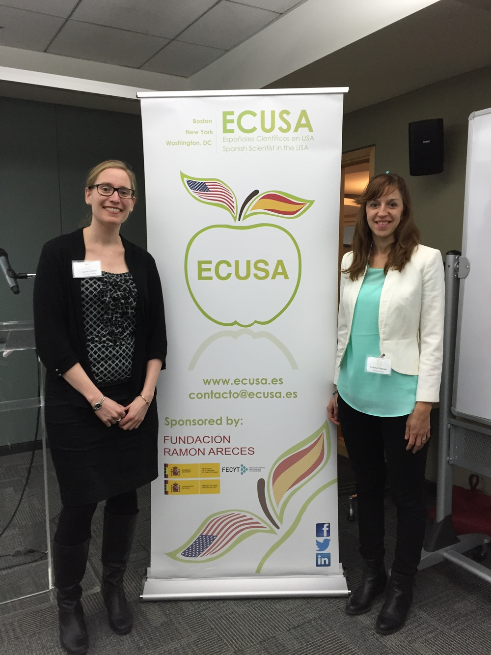 Lauren Celano (left),  Co-founder and CEO of    Propel Careers     and Cristina Vázquez-Mateo (right), president of ECUSA-Boston.  Cambridge Innovation Center, Cambridge, MA. March 16th, 2015