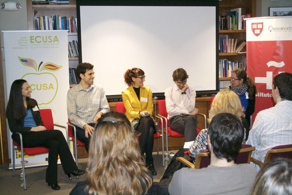De izquierda a derecha: Rachel Sachs, César de la Fuente, Rosario Fernández Godino, Marc Güell y Marta Murcia (organizadora del evento)
