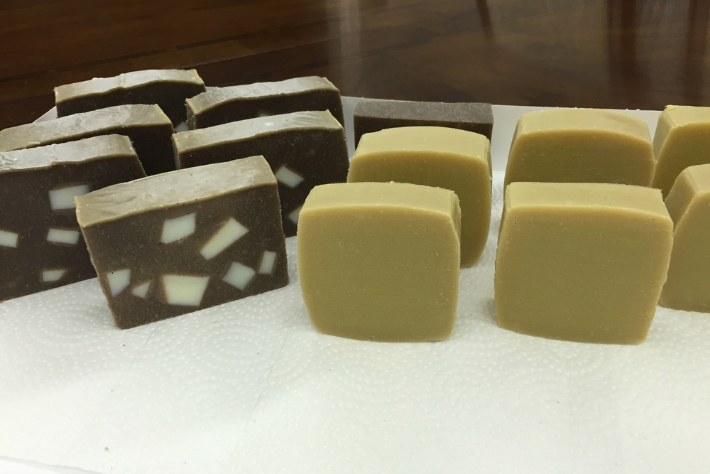 Coconut Soap with Coffee (left) and Avocado Soap with Cow's Milk (right), both unscented