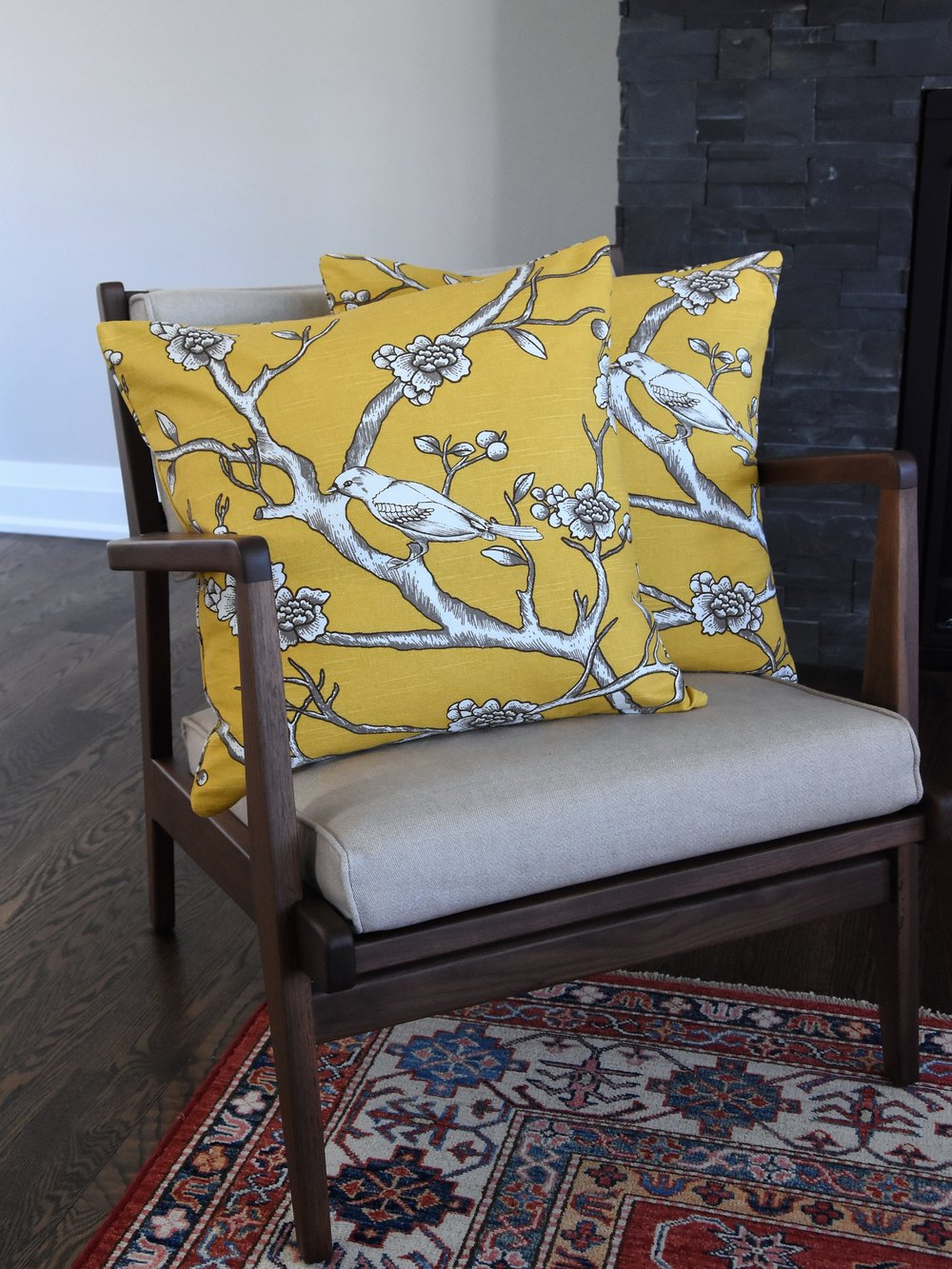 "Dwell Studio the Vintage Blossom Sluc print in Citrine, 20"" cushions"