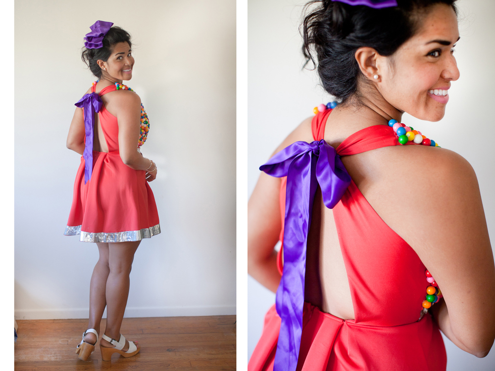 The front of your dress might be a bit top heavy due to the weight of the gumballs. If possible strap a colorful ribbon in between the straps of your dress to make a bow!